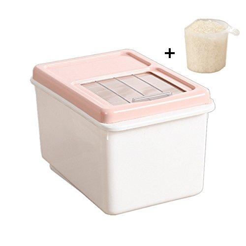 Potshop - Recipiente de almacenamiento de plástico para alimentos secos de grano fresco (5/10 kg) con dispensador de arroz, caja transparente para almacenar arroz, harina, frijoles y comida para mascotas, Rosa, Large: 33*23*21cm