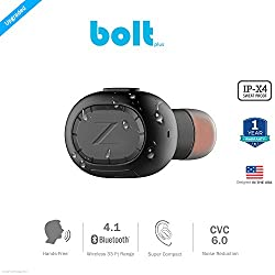 ZAAP (USA) BOLT PLUS Bluetooth 4.1 Mini Headset Wireless {Award Winning} Headphone/Earbud, Secure Fit for Office, Gym, Driving & Outdoor with Built-in Microphone, Hands-free calling(IPX4 SWEAT-PROOF). Worlds Smallest Headset & Cable free. Universal Compatibility- [Black]