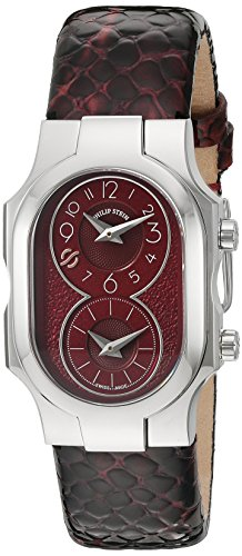 Philip Stein Women's 'Signature' Swiss Quartz Stainless Steel and Leather Casual Watch, Color:Red (Model: 100-BGRG-CHBG)