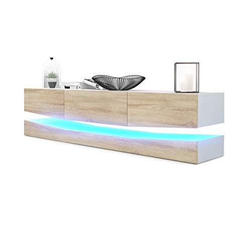 Meuble TV Armoire basse City, Corps en Blanc mat / Façades en Chêne brut avec l'éclairage LED
