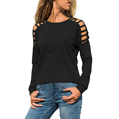 Ncenglings Damen Tops Langarm Herbst Kleidung Einfach Einfarbig T-Shirt Sexy Schulterfrei Oberteile Mode Rundhals Shirts Freizeit Slim Fit Blouse Schöne Wild Sweatshirt Lose Pailletten - Einfache Und Günstige Kostüm Für Arbeit