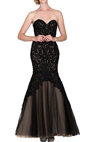 La_Marie Braut Royal Blau Spitze Traegerlos Abendkleider Ballkleider Brautmutterkleider Bodenlang Schwarz