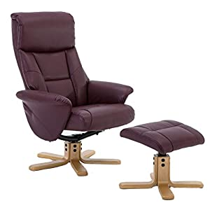 GFA Marseille Faux Leather Swivel Recliner Chair In Burgundy With Footstool