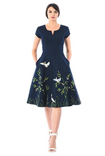 da9b24bf50 eShakti Women s Bird embellished cotton poplin dress UK Size 14   Regular  height Deep navy multi