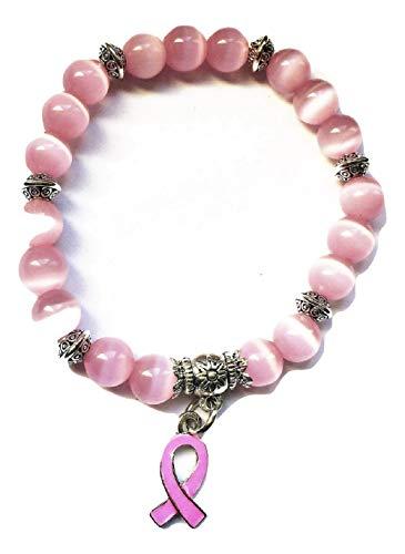STRASS & PAILLETTES Bracelet Octobre Rose dans Boite Cadeau/Bracelet Lutte Contre Le Cancer du Sein avec Perle Opale Rose et Ruban Rose