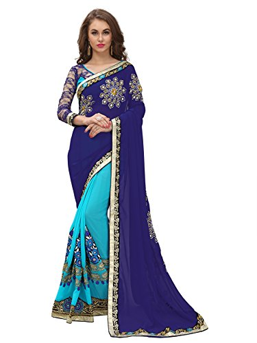 Ambika Sarees Collection Women's With Blouse Piece Saree (Football-001_Blue_One Size)