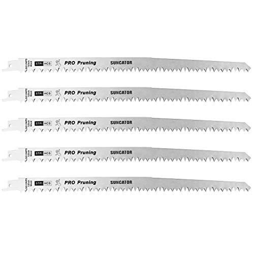 SUNGATOR Säbelsägeblatt Set für Holz, 300mm 5TPI Super Gehärtetes HCS Material Säbelsägeblätter erhört die Effektivität, 5 Stück