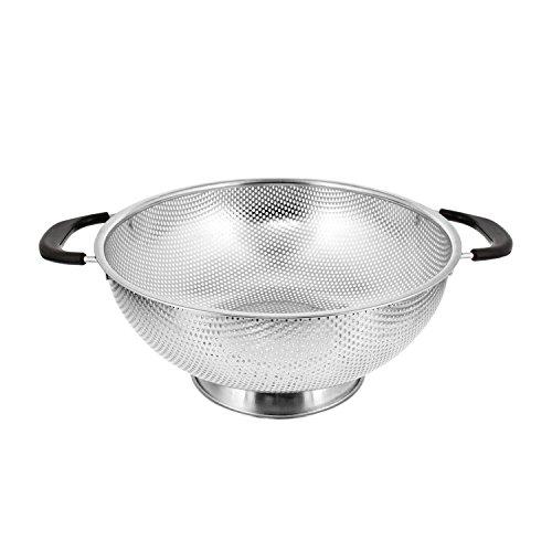 USA Küche Korb 5Quart Edelstahl 27,9cm Mikro-perforiert Sieb Teesieb mit beschichteter hitzebeständig Breite Griffe-Schüssel zu Zugentlastung, Ablauf, Abspülen, Dampf oder Cook Gemüse & Pasta 5 Quart Colander
