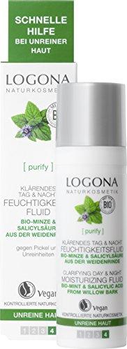 LOGONA Naturkosmetik Klärendes Tag & Nacht Feuchtigkeitsfluid, Verfeinert & beruhigt das Hautbild, Vegan, 30ml