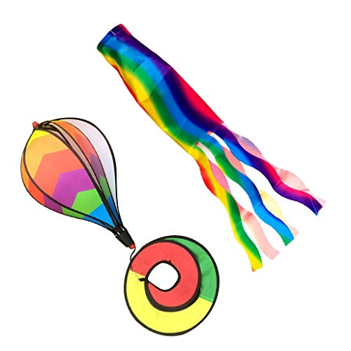 FLAMEER 2 Stück Bunte Heißluftballon Windspiel Windsack Windspiration mit fließenden Schwanz