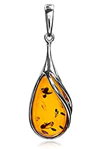 Amber Sterling Silver Drop Classic Pendant