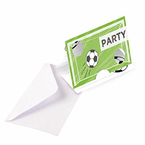 studio four Party Einladungen Geburtstagsfeier Fußball Print Fußballfeier 8 Stück, Grün