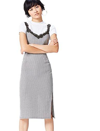 FIND Women's Lace Detail Gingham Dress, Black (Black/White Check), 14 (Manufacturer Size: Large)