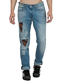 Estrolo One Side Ripped And Patched Men's Jeans