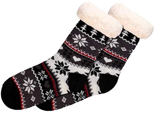Alsino Hüttensocken Norweger Weihnachtssocken Größe 37-42 mit ABS Sohle für Damen und Herren, Farbe:SO-W-108-2 schwarz dunkel grau weiß