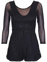 Womens Floral Lace Ladies Long Mesh Sleeve Round Scoop Neckline Shorts Stretch Dress Jumpsuit Playsuit