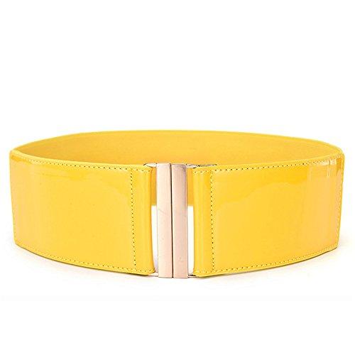 Prettychic Damen Lackleder Taille Gürtel Elastische breite Bund Gürtel für Kleid (Cinch Hüftgurt Große Korsett)