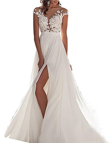 AZNA Damen Chiffon Spitze Hochzeitskleid Strand Illusion Ausschnitt Brautkleid Eine Linie Weiß 56