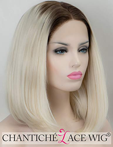 Chantiche Halloween Ombre White Blonde Wig Straight Short Bob Lace Front Wig Glueless Brown Rooted Synthetic Wigs for Women Heat Resistant Fiber