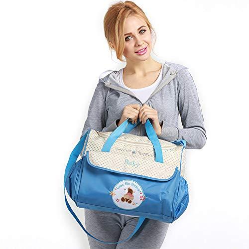Windel-Tasche für Baby von - Multifunktions Mummy tasche fünf stück aus mutter tasche mit WickelauflageTaschen,wasserdichtes Material, Kinderwagen-Gurte und Schultergurt-Wickeltaschen-Hellblau