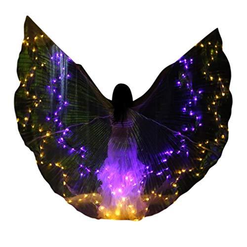 Von Bilder Feen Kostüm - Chejarity Bauchtanz LED Wings Glitzer Isis Flügel Sternenhimmel Schmetterling Tanz Requisiten Zubehör Bühnenperformance Kleidung Halloween Karneval Cosplay Party Maskerade Kostüm (One Size, Gelb)