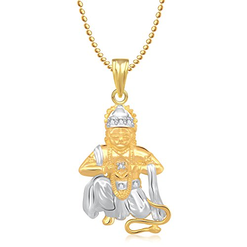 Meenaz Hanuman Bajrangi God Gold Plated Pendant & Locket Cz In American Diamond For Men & Women Girls GP202