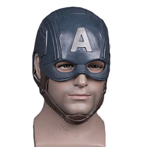 Yujingc Captain America Maske 3 Captain American Latex Helm Halloween Requisiten Maske Cosplay Party Requisiten für Erwachsene Kostüm Zubehör,Blue,62cm (Mad Max Kostüm Zubehör)