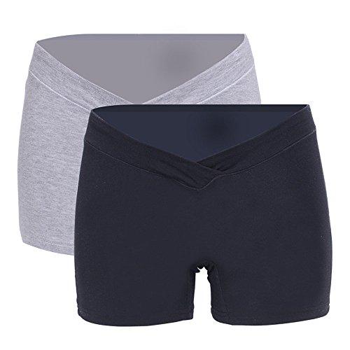 BOZEVON 2Pcs Damen Umstands Leggings Shorts Sicherheits Shorts Unterwäsche Kurze Lace V Förmige Niedrig Taille Schwangere Unterhosen Schwarz Grau (Höschen Kurzen Form)
