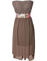 Fashion Sommerkleid Vokuhila Style Partykleid Vorne Kurz Hinten Lang Bandeau Ausschnitt Blumen Borte