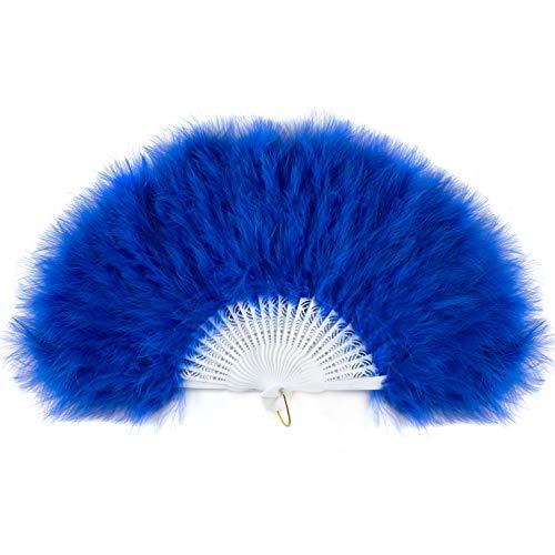 ArtiDeco Damen Fächer Marabou Feder 1920s Vintage Stil Retro Handfächer Damen Gatsby Kostüm Flapper Zubehör (Weiß Pfau Feder)