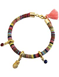 Gemshine - Damen - Armband - Vergoldet - AZTEC - Uhu - Eule - Rubin - Rot - Saphir - Blau