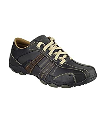 Skechers Men's Lace Up Trainers Black / Tan UK Size 12