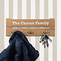 Personalised Coat Rack - 3 Hooks - Colour Aqua