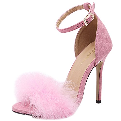 Oasap Women's Peep Toe Ankle Strap Feather High Heels Sandals pink