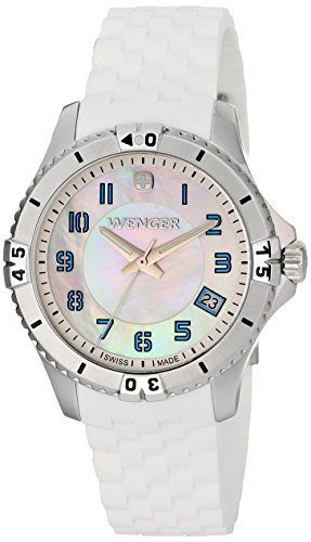 Wenger 0121.104 Women's Squadron Green Accent MOP White Dial White Rubber Strap Watch