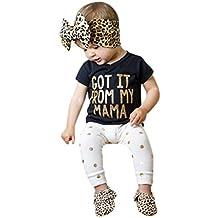 Niña Vestido Liquidación,Beikoard Niños niñas bebe trajes ropa Bronzing tops de la camiseta + pantalones handband 3pcs