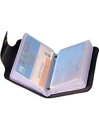 Eagle Buzz Men Black Genuine Leather Card Holder (12 Card Slots)
