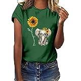 Wawer Frauen Mädchen Plus Size Sonnenblumen-Elefanten-Print Kurzarm T-Shirt Bluse Tops, Damen Kurzarm Lässige T-Shirt Casual Sommer Lose Shirt Bluse Oberteile