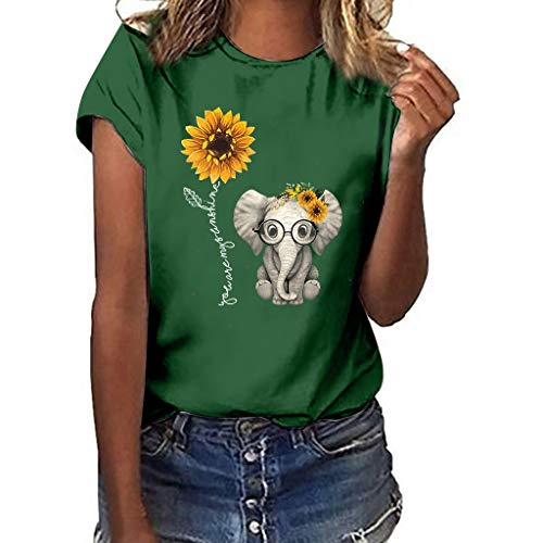 n Plus Size Sonnenblumen-Elefanten-Print Kurzarm T-Shirt Bluse Tops, Damen Kurzarm Lässige T-Shirt Casual Sommer Lose Shirt Bluse Oberteile ()