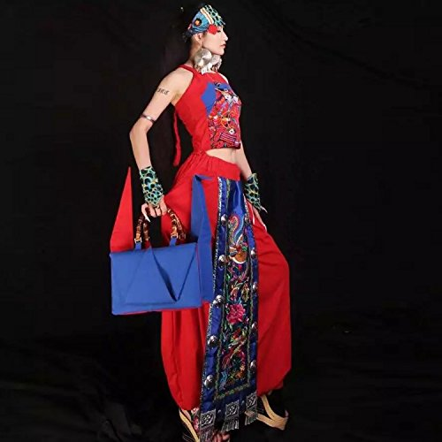 pliable mille origami grues type sac à main / bambou poignée sac / sacoche / sac à bandoulière/Sacs portés épaule/Sacs portés main pattern 4 type rouge and bleu