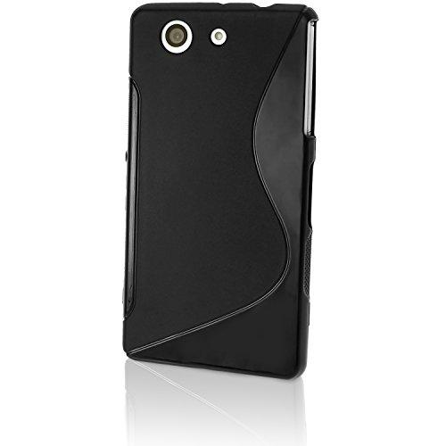 igadgitz S Line Nero Lucido Protettiva Custodia Gel TPU per Sony Xperia Z3 Compact D5803 D5833 Case Cover + Pellicola