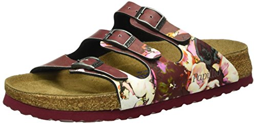 Birkenstock Damen Florida Birko-Flor Softfootbed Pantoletten, Mehrfarbig (Painted Bloom Red), 37 EU