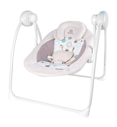 Lionelo Ruben Baby Wippe, Babyschaukel Elektrisch mit Liegefunktion, Baby Schaukel 0-9kg, Naturgeräusche, Kuscheltierbügel, Moskitonetz (Rosa)