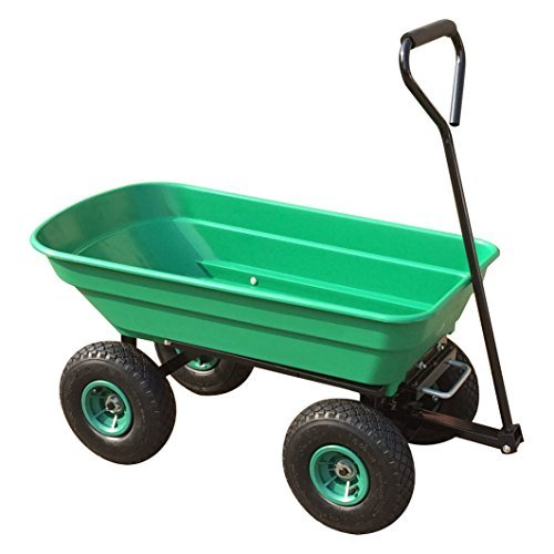 Power King Garden Tipping Truck 50L Tipper Wheel Barrow with 10″ Pneumatic Wheels Fitted with Swivel Handle and Wheel Base Adjustment