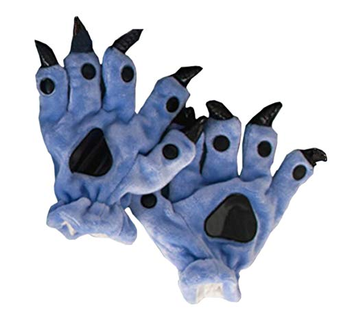 Tier Pfote Handschuhe Unisex Warm Plüsch Cosplay Tiertatzen Cartoon Klaue Halloween Kostüm Erwachsenen Zubehör, Dunkelblau (Warme Halloween-kostüme Für Jugendliche)