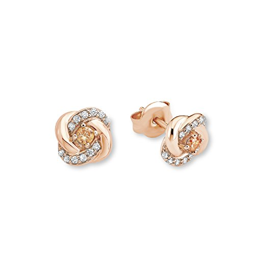 Amor Damen-Ohrstecker Knoten 8 mm Silber rosévergoldet Zirkonia weiß champagner