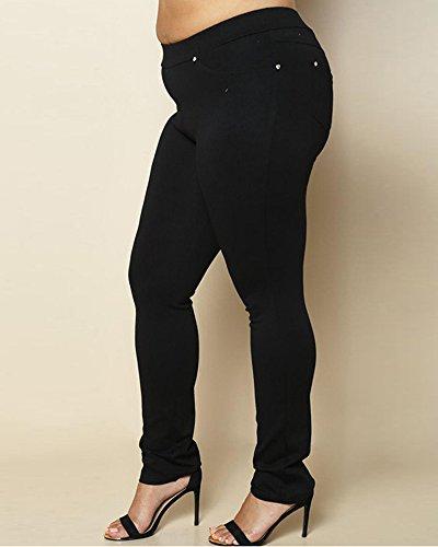 Ladies Stretch Trousers Plus Size Elasticated Waist Pants Nero