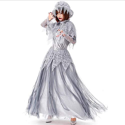 PAOFU-Das Gespenstische Braut-Hochzeits-Kleid Halloween der Frauen Lust Kleid Kostüm,Kleid und Hut,Grau,M (Gespenstische Halloween Kostüm)