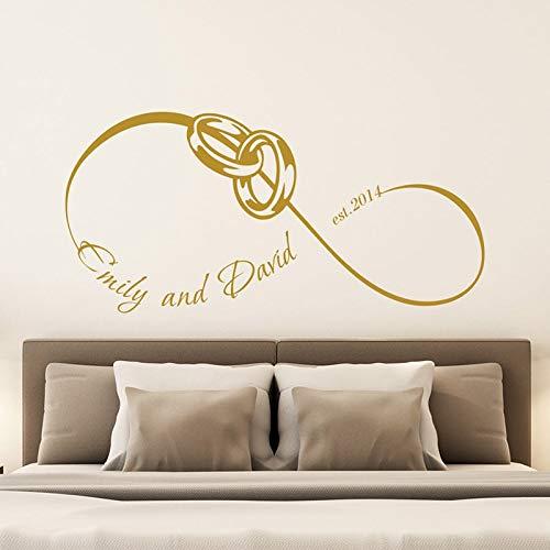 zaosan Hochzeitsdatum Vinyl Wandaufkleber Personalisierte Familiennamen Abnehmbare Aufkleber Wohnzimmer Schlafzimmer Dekorationcm 151x72cm