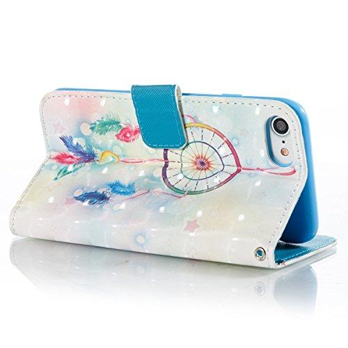 iPhone 8 Plus Hülle,iPhone 7 Plus Hülle,Grandoin® Handyhülle im Brieftasche-Stil für Apple iPhone 7 Plus/iPhone 8 Plus 5.5 Handytasche PU Leder Flip Cover 3D Bunte Muster Book Case Schutzhülle mit [a Windspiel